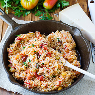 Tomato and Roasted Red Pepper Risotto
