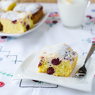 Sour Cherry and Cream Coffee Cake