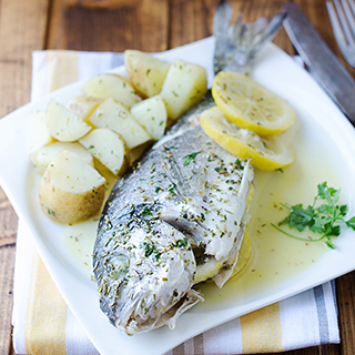 Baked Sea Bass in Aluminum Foil with Rosemary