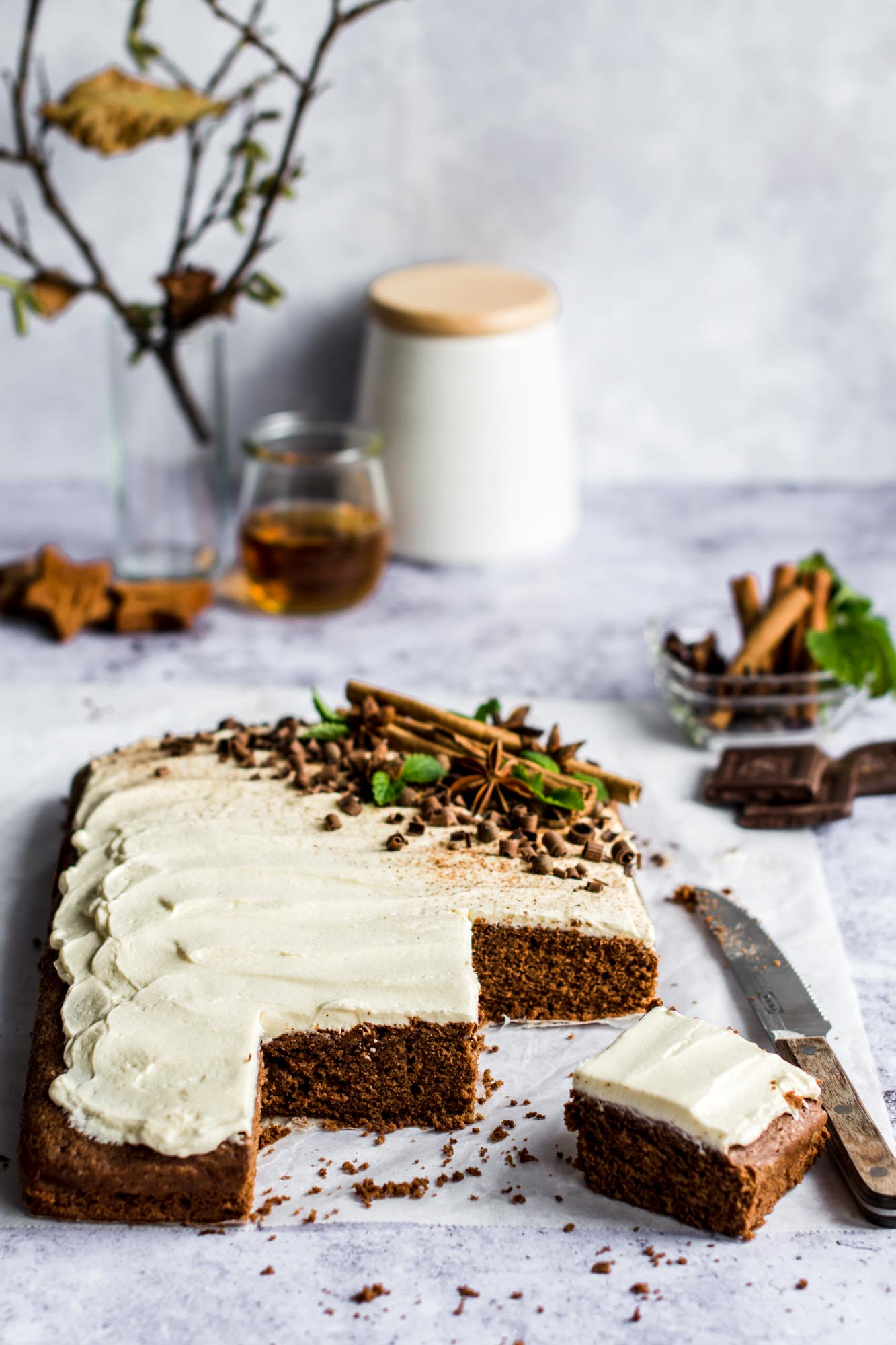 Gingerbread Spiced Chocolate Cake With Rum Frosting Bite It Quick
