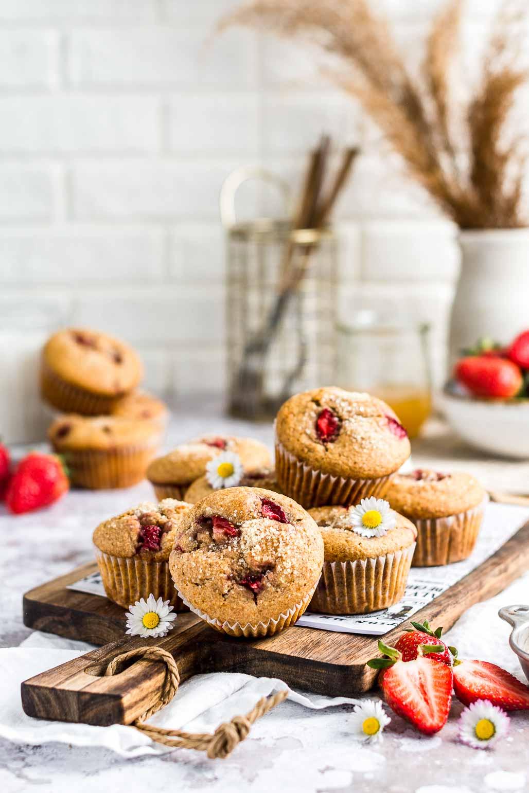 Whole Wheat Honey Strawberry Muffins