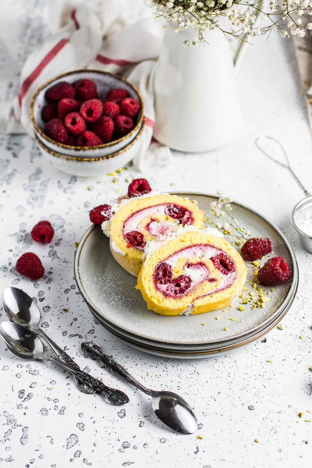 Raspberry Cheesecake Roll Cake
